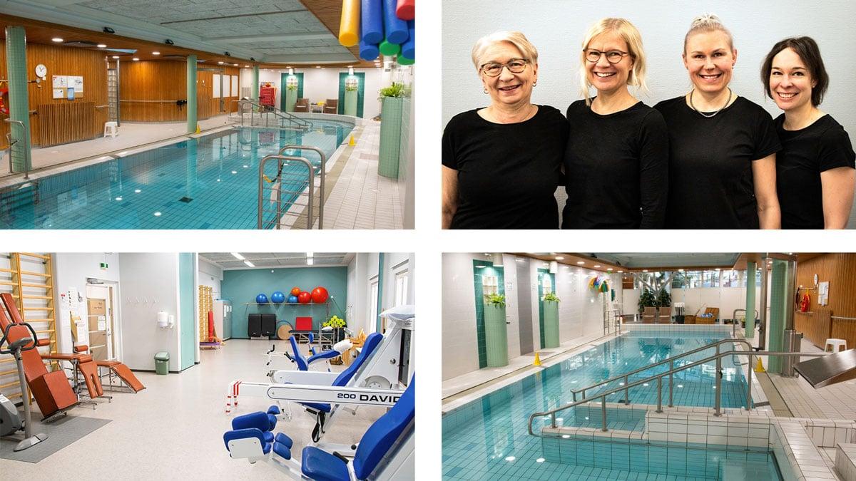 Lämminvesiallas, liikuntasali ja mahtavat ammattilaiset Lahden fysioterapiakeskuksessa